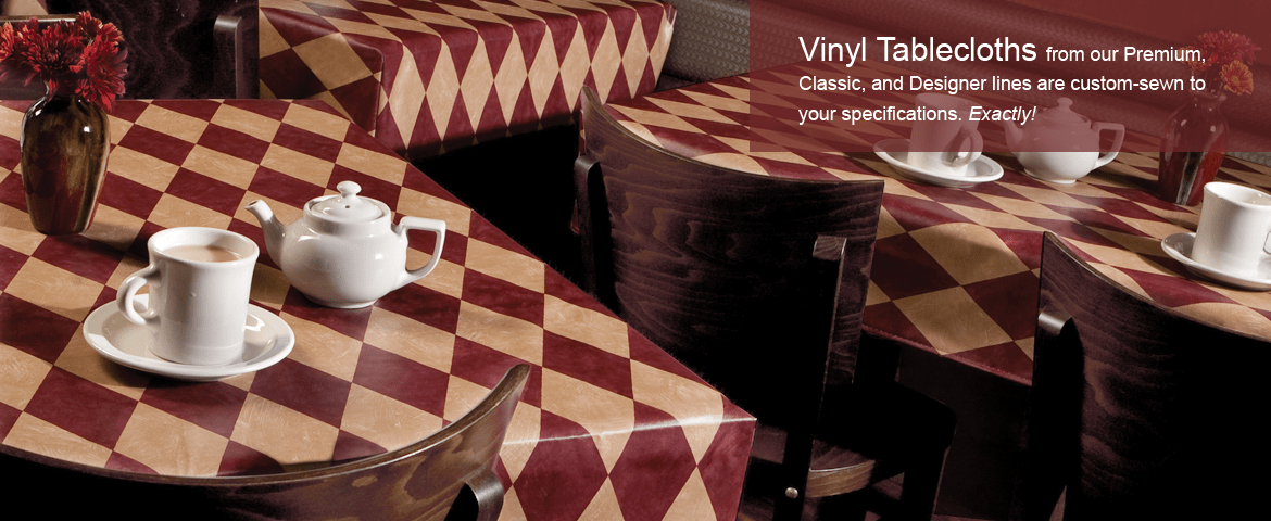 Vinyl table covers in a restaurant